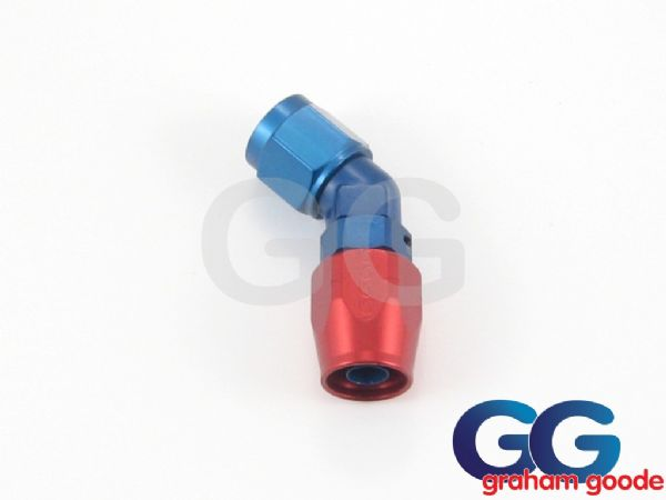 Goodridge 200 Series Dash 12JIC 200.12 Fuel Hose 45Degree Forged Fitting Blue/Red Anodised 336-4512